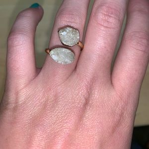 Anthropologie druzy ring gold plated